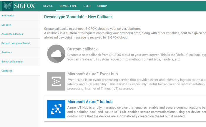 Connect a Sigfox IoT device to  the Microsoft Azure IoT Hub