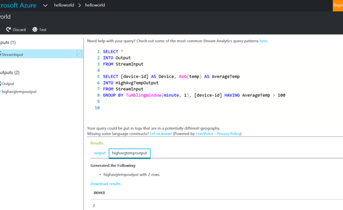 Finally; Azure Stream Analytics query tester!